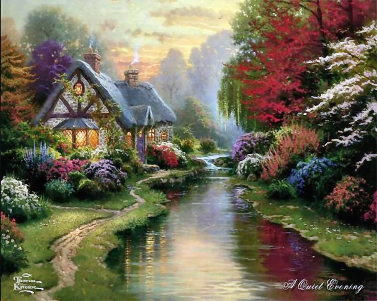 painting of a house next to a river